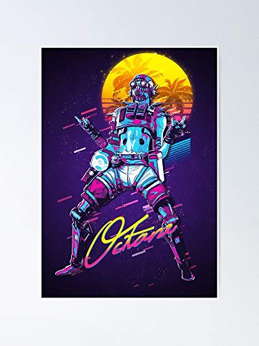 Apex Legends - Octane 80s Re-TRO Miami Vaporwave Poster 11.7x16.5 Inch Frame Board for Office Decor, Best Gift Dad Mom Grandmother and Your Friends