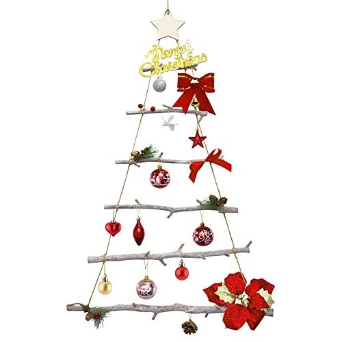 Hileyu Decorazione della Scala di Corda di Natale in Legno Ramo di Betulla da Appendere Albero di Natale Decorazione Natalizia in Legno con Scala in Corda 90x55cm