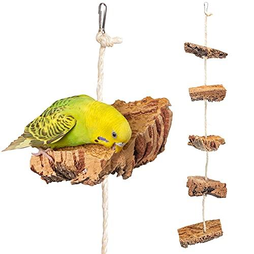 Vogelgaleria Corde pour Grimper et grignoter avec éléments en liège Accessoire Parfait pour canaris et Autres Petits Oiseaux de Compagnie