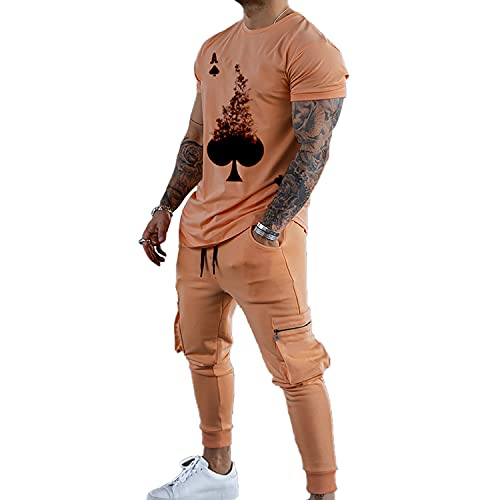Men's Tracksuits 2 Piece Outfit Casual Short Sleeve Sweat Suit for Running, Fitness, Exercise ,Take a walk (M, Orange, m)