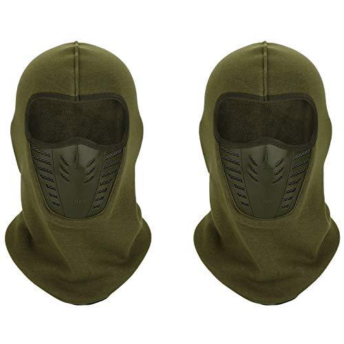 TAGVO Warmsturmhaube Gesichtsmaske mit atmungsaktivem Mesh Silikon Panel, Winter Fleece Nackenwärmer Winddicht, Fit Helm Hut für Erwachsene Frauen und Manner