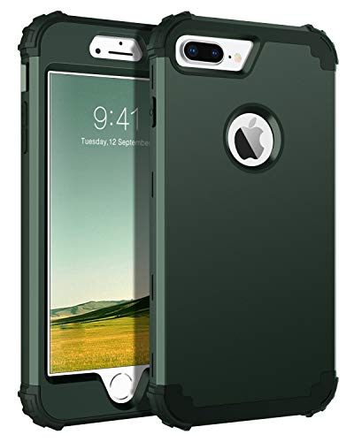 BENTOBEN iPhone 8 Plus Case, iPhone 7 Plus Case, 3 in 1 Hybrid Hard Plastic Soft Rubber Heavy Duty Rugged Bumper Shockproof Full-Body Protective Phone Cover for iPhone 8 Plus/7 Plus, Midnight Green