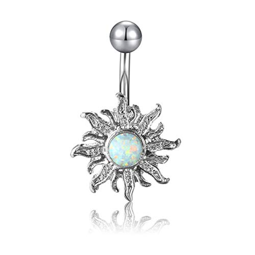 Jovivi 14G Surgical Steel Belly Button Navel Barbells Rings Body Piercing Jewellery,Created Opal Silver Sun Flower Design