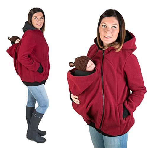 Zizimo DREI-in-einem-Multifunktions-Mutter Känguru Pullover Mantel Damenbekleidung Baby Schlafsack Rot