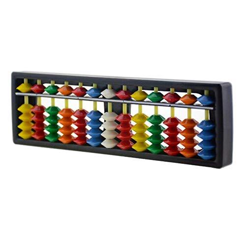 1 marco de calculadora china (ábaco) de plástico ABS de 13 dígitos, con cuentas coloridas para niños. Para enseñanza de cálculo y educación matemática y aritmética.