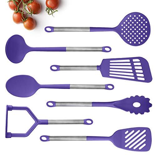 COOK With COLOR 7 Piece Nylon Cooking Utensil Set with Copper Handles (Lavender)