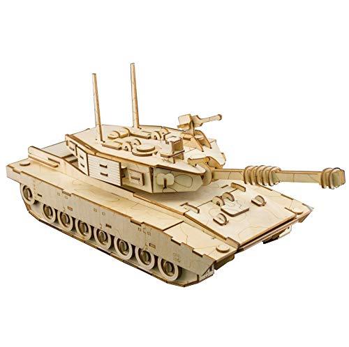 WEUN Hölzernes Rätsel 3D, DIY Gebäude Spielzeug Mechanisches Modell -M1 Abrams-Tank, Geschenke für Jungen/Mädchen/Teenager/Erwachsene