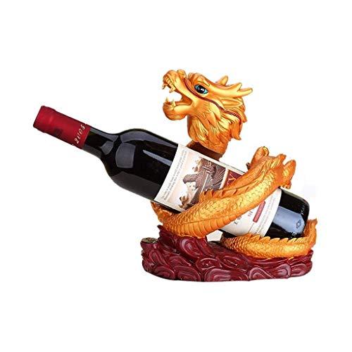 Botellero Almacenamiento de vino de soporte de resina Talla del dragón del oro gabinete del vino Decoración de vino Botellero Wine Bar Inicio estante del vino encimera Gabinete Bodega Vino Estante