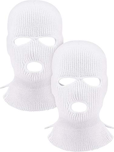 2 Pieces 3-Hole Ski Mask Knitted Face Cover Winter Balaclava Full Face Mask for Winter Outdoor Sports (White)