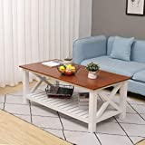 MRS Coffee Table Pine Wood Farmhouse Rustic Vintage Cocktail Table with Shelf for Living Room White and Brown
