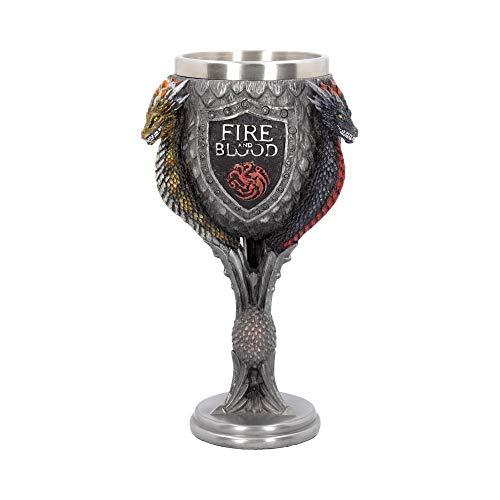 Nemesis Now House Targaryen Kelch Game of Thrones, 23 cm, Grau