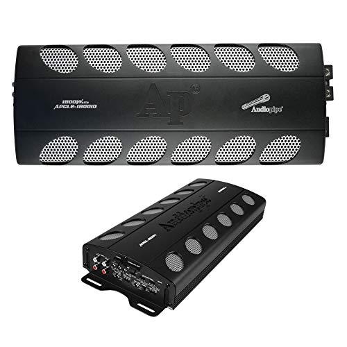 Audiopipe APCLE-18001D 1800 Watt Class D 1 Ohm Stable Car Audio Mono Amplifier and Audiopipe APCLE-2004 2000 Watt 4-Channel Class AB Car Audio MOSFET Amplifier
