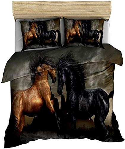 HUA JIE Bedding Set,Kids Bedspread Cover Horse Printed Duvet For Adult Teens Boys Quilt Animal Theme Comforter Wild Pattern Farmhouse Decor Exotic Style Bedding