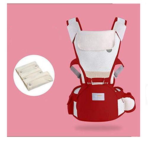 LNDD-Baby Sling Taille Kruk Voorzijde Houd Vier Seizoenen Universeel Ademend Multifunctioneel Ademend Licht met Saliva Handdoek, Rood