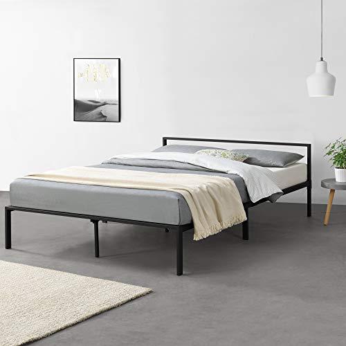 [en.casa] Metallbett 140x200 cm Minimalistisches Bettgestell Bett mit Lattenrost Stahl Schwarz