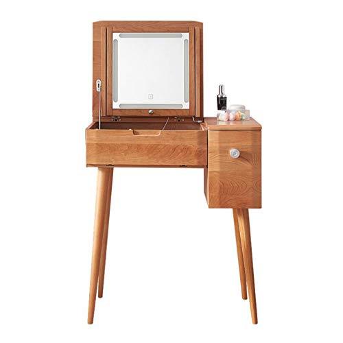 ZAT Madera sólida Tocador con Maquillaje heces, Vanidad Tabla, Regulable Espejo, Recargable, Regalo de Boda