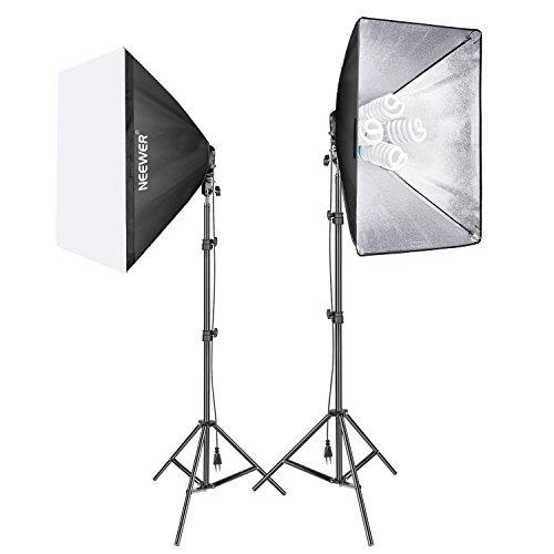 Neewer 1600W Foto Estudio Video Softbox Kit de Iluminación,(2)Softbox 50 x 70cm,(2)4 Zócalos Soporte de Luz,(8)45W Bombilla de luz,(2)200cm Soporte de Luz,(2)Estuche Portátil para Disparos de Retratos