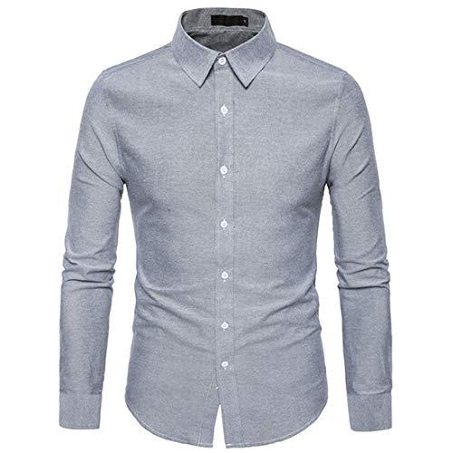 BEIXUNDIANZI Men's Shirt Slim Fit Easy Iron for Suit Business Wedding Leisure Long Sleeve Shirts for Men Long Sleeve Shirt Men Casual Vacation Shirt XL Gray