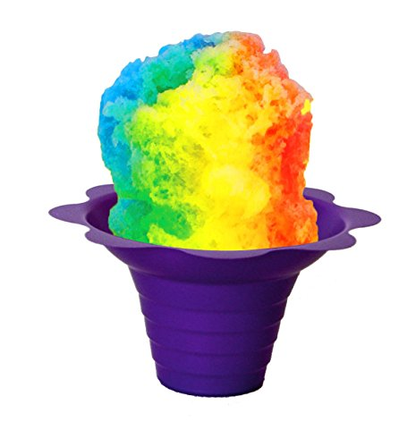Flower Cups for Serving Shaved Ice or Snow Cones 4 oz, Case of 500, Purple and Yellow
