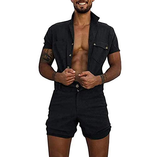 lexiart Mens Fashion Rompers Solid Color Jumpsuit Casual Button Down Shirts with Zip Black