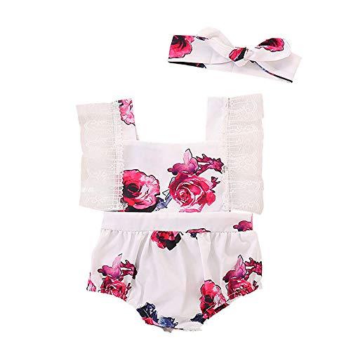 IFFEI Baby Meisjes Mouwloos Romper Zomer Bloemenprint Jumpsuit met Hoofdband 2 Stuk Outfits Set voor Peuter Meisjes