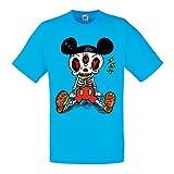 lepni.me Camisetas Hombre Esqueleto de un ratón (Medium Azul Multicolor)