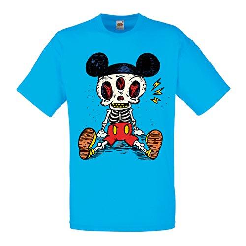 Männer T-Shirt Skelett Einer Maus (XX-Large Blau Mehrfarben)