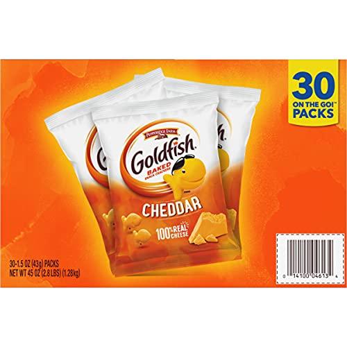 Pepperidge Farm Goldfish Cheddar Crackers, 1.5 oz. Snack Packs, 30-count Multi-pack Box