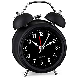 Bernhard Products Analog Alarm Clock Mini 3 Twin Bell Black Silent Non Ticking Quartz Battery Operated Extra Loud with Backlight for Bedside Desk, Black Metal Soft-Touch Finish