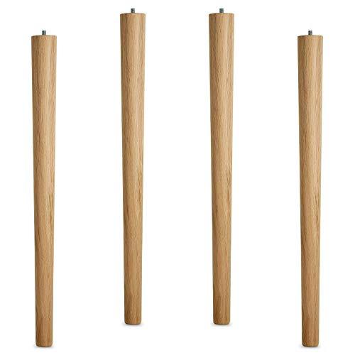 4er Set Tischbeine Eiche roh H 710 mm/Ø 60/40 mm mit Gewindestift M10 Ideal für Küchen & Ess-Tische/Tischfüße Holz Möbelfüße von SO-TECH®