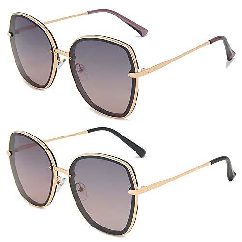 HFSKJ Pack de 2 Gafas de Sol, Gafas de Sol polarizadas Conducir y Conducir Gafas protección UV Las Gafas Populares Son adecuadas para Hombres y Mujeres,C
