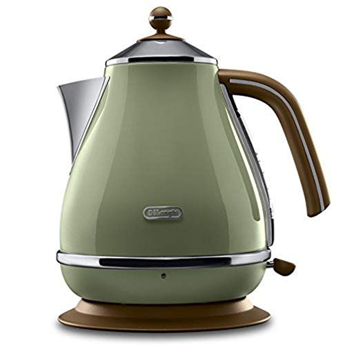 De'Longhi Wasserkocher Icona Vintage KBOV2001.GR - 1,7 l mit Wasserstandsanzeige und 360° Basis, Edelstahl in elegantem Retro Look mit Chrom-Details, grün