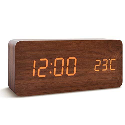FiBiSonic Holz Wecker Moderne, LED Tischuhr Digitaler Wecker, Voice Touch Uhrzeit/Datum/Temperatur anzeigen für Zuhause Schlafzimmer Office Braun Orange