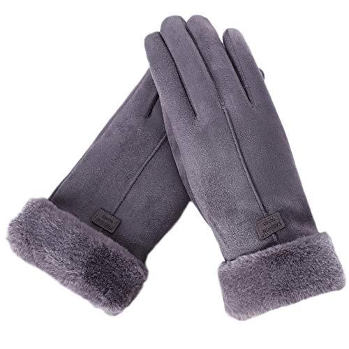 Guantes de invierno para mujer con forro térmico de felpa, resistentes al viento, guantes de conducción