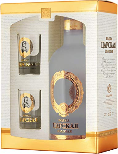 Ladoga Zarskaya Gold Vodka 0,7L 40% vol. Gift Box mit 2 Shot Gläser