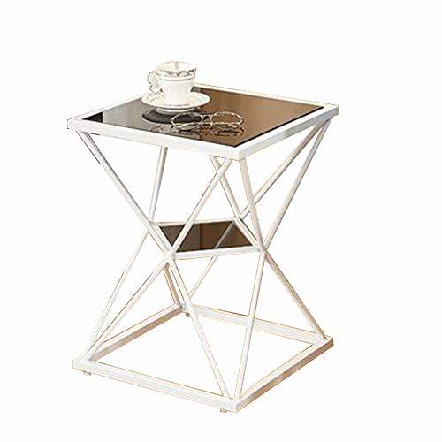 Oupai Tavolini Tavolino, 2 Livello Accent Vetro Temperato Livingroom Tavolino Tea Table da Letto Comodino for Le Piccole Appartamento 15 × 15 × 22 Pollici per Soggiorno Camera da Letto