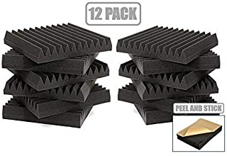 12 Pack - Easy Mount Adhesive-Backed Acoustic Sound Dampening Foam Panels 1