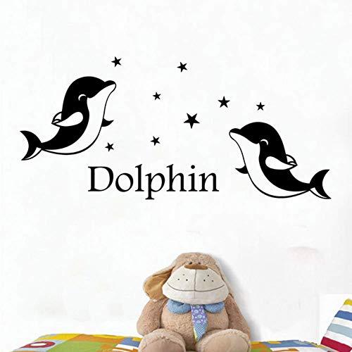 GWFVA Kinderkamer Kinderkamer Muursticker Dolfijn Engels Letters Behang Woonkamer Slaapkamer Behang 89 * 41cm