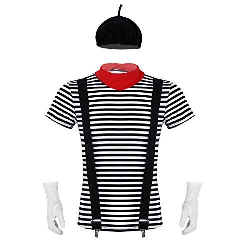 Freebily 5Pcs Disfraz de Mimo Francs Artista Hombre Traje Costume Cicro Adultos para Carnaval Halloween Actuacin con Camiseta Boina Guantes Tirantes Bufanda Negro Medium