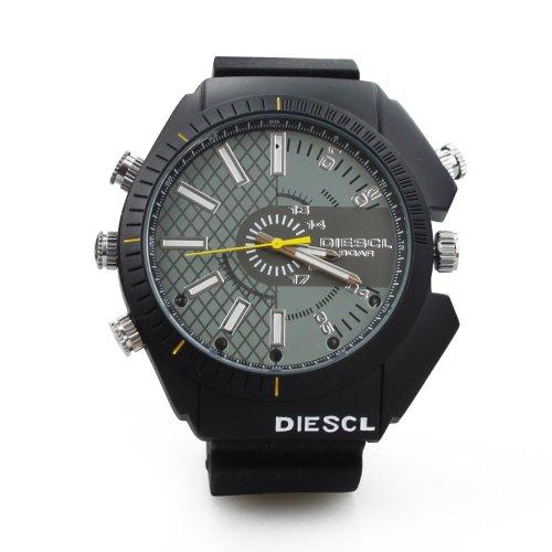 FLY-SHOP-16GB HD Water Resistant Spy Watch Orologio Spia Videocamera Nascosta Visione Notturna Cinturino Nero + Pannello di Maglia