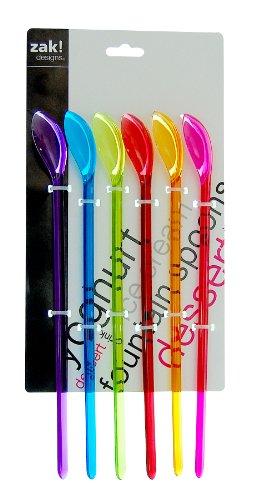 ZAK Designs 0900-680 - Set di cucchiai Lunghi per Limonata, Multicolore, 6 pz.