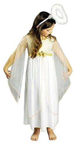 Engel kostuum jurk Lucia voor meisjes - engelenkostuum met sterren wit goud