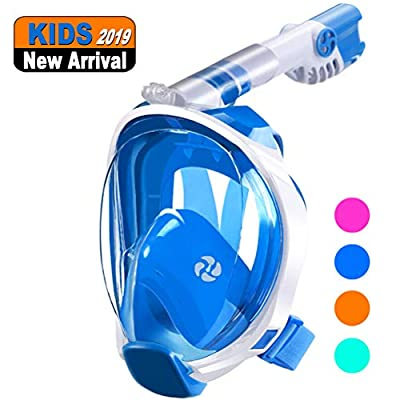 aidong Full Face Snorkel Mask,180 Panoramic Anti Fog Anti Leak Foldable Snorkel Mask,Advanced Breathing System Allows You to Breathe More Fresh Air While Snorkeling (Style Kid - Blue, XS)