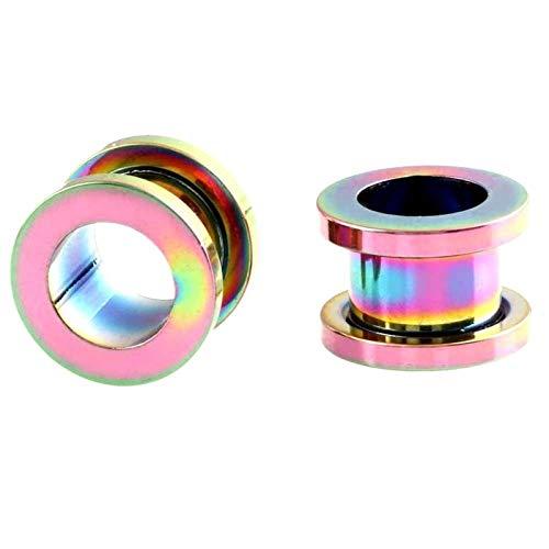 JYBHSH Oído 1PC tapón auditivo dilatador Acero Inoxidable joyería Canal Plug Perforada (Color : EM0035 Rainbow, Size : 18mm)