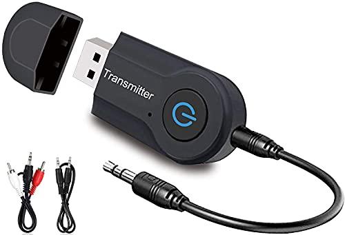 Transmisor Bluetooth,USB Bluetooth 5.0 Transmitter, portátil de 3.5 mm para TV/Ordenador/Auriculares/Altavoz, Baja Latencia, Alta Fidelidad Estéreo, Plug and Play