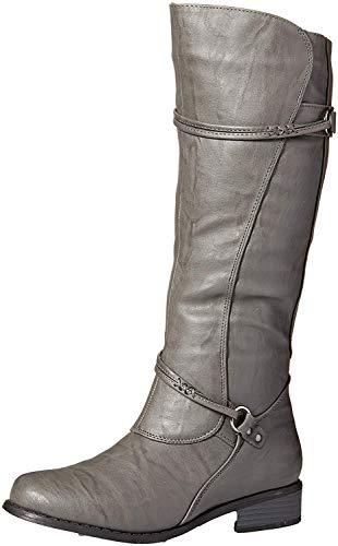 Brinley Co. Womens Regular, Wide Calf and Extra Wide Calf Tall Buckle Riding Boots Grey, 6.5 Regular US