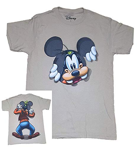 Disney Goofy Peeking Adult Fashion Top T Shirt- L Black