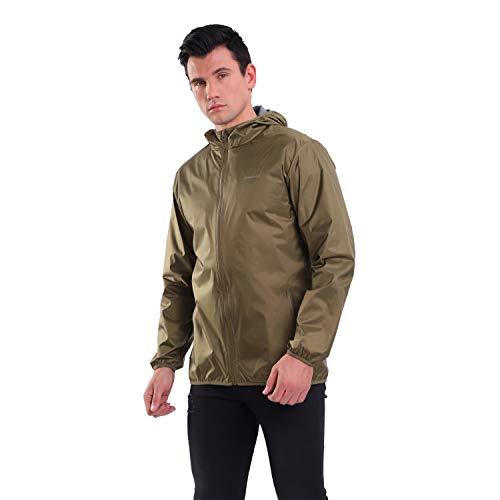 YINGJIELIDE Men's Waterproof Rain Jacket Hooded Outdoor Raincoat Lightweight Windbreaker Light Khaki XX-Large