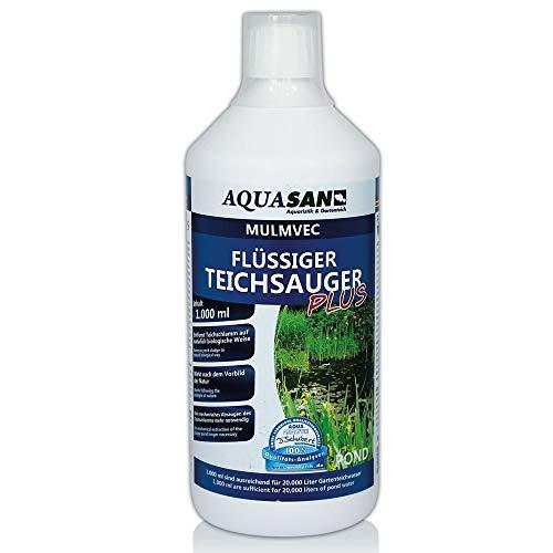AQUASAN Gartenteich Mulmvec Flüssiger Teichsauger Plus (Teichschlammentferner - Kein mechanisches Absaugen von Schlamm und Mulm mehr notwendig - Nie Wieder Teichschlamm), Inhalt:1 Liter