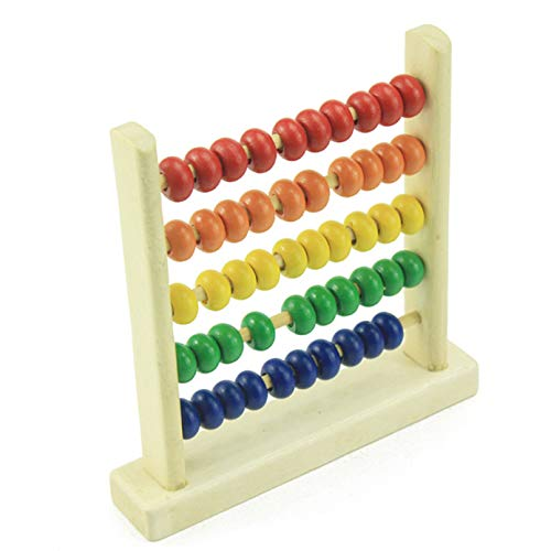 Sevenfly Miniatur-Zählrahmen 5 Zeilen Holz-Abakusperlen Holzspielzeug Kognitives Lernregal Mathematik-Lernspielzeug
